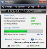 BatteryCare 0.9.31 captura de pantalla