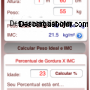 Calculadora el indice de masa corporal Imc captura de pantalla